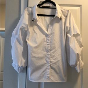 """Zara white shirt with """"puffy arms"""""""